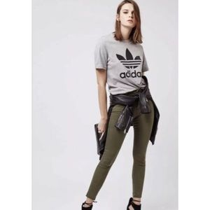 Topshop Olive Green Moto Leigh Pants